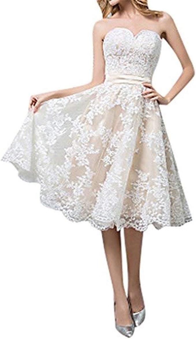 Cloverbridal Hochzeitskleider Für Damen Weiß Standesamt Kurz Tüll