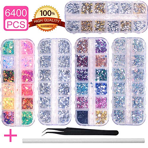(6400pcs Nail Art Rhinestones Nail Crystal Gems Nail Diamonds, Gold Silver Nail Art Studs Colorful Nail Sequins & Rhinestones for Nails Kit with Tweezers and Wax Pen for Nail Art Supplies Accessories )
