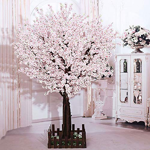 J-beauty White Artificial Cherry Blossom Tree Artificial Plant for Wedding Event Indoor Outdoor Party Restaurant Mall Silk Flower (4ft -