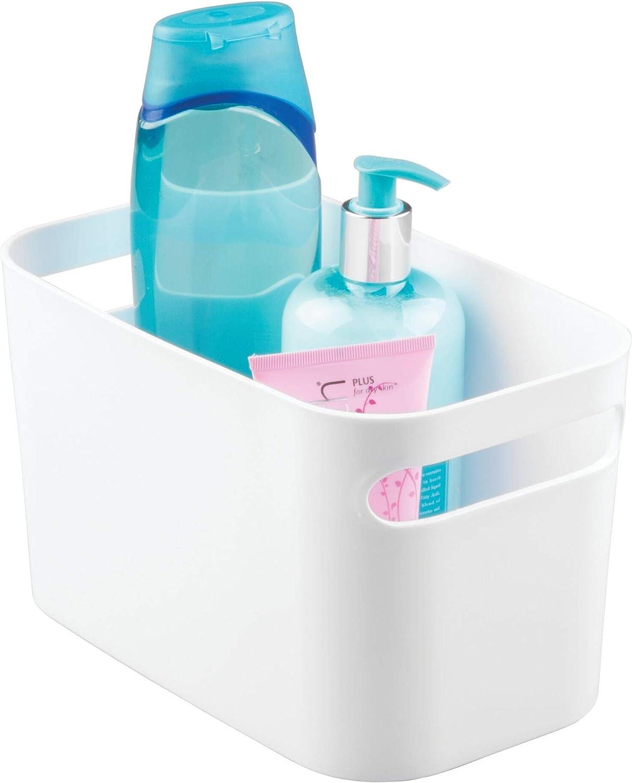 iDesign Caja organizadora con asas, pequeña cesta de almacenaje de plástico para hogar y material de hobbies, organizador de baño y de juguetes, blanco