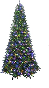 Home Accents Holiday 7 ft. to 10 ft. LED Pre-Lit Adjustable Rising Artificial Spruce Christmas Tree