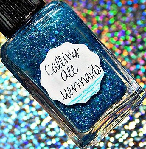 Lynnderella Limited Edition-Cyan Holographic Nano Glitter Nail Polish-Calling All Mermaids