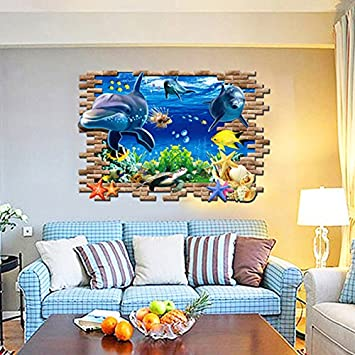 3d Dolphin Turtle Underwater World Vinyl Wall Decal PVC Home Sticker House  Paper Decoration Wallpaper Living