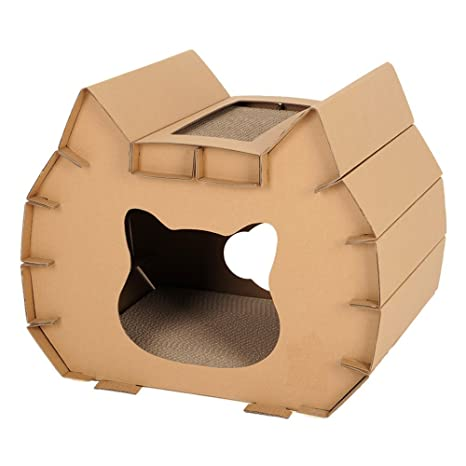 L&XY Cat Scratch Board Gato Casa Cartón Reciclable DIY para Gato Pequeño Y Mediano Montaje Rasguño