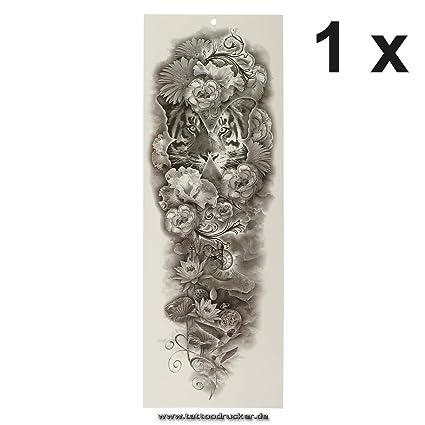 Tatuaje de brazo XXL – Tiger pájaros flores reloj mariposa – brazo piernas cuerpo piel tatuaje