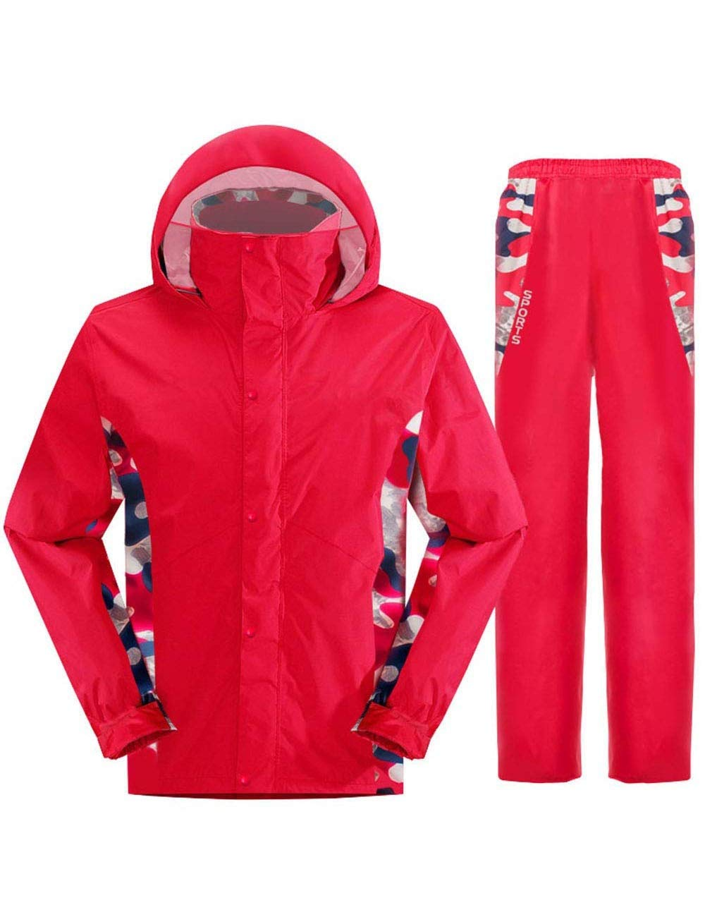 Waterproof Raincoat Breathable Light Rain Jacket and Rain Pants Suit Male and Female Adult Hiking Camping Hiking Red (Size   XLarge)