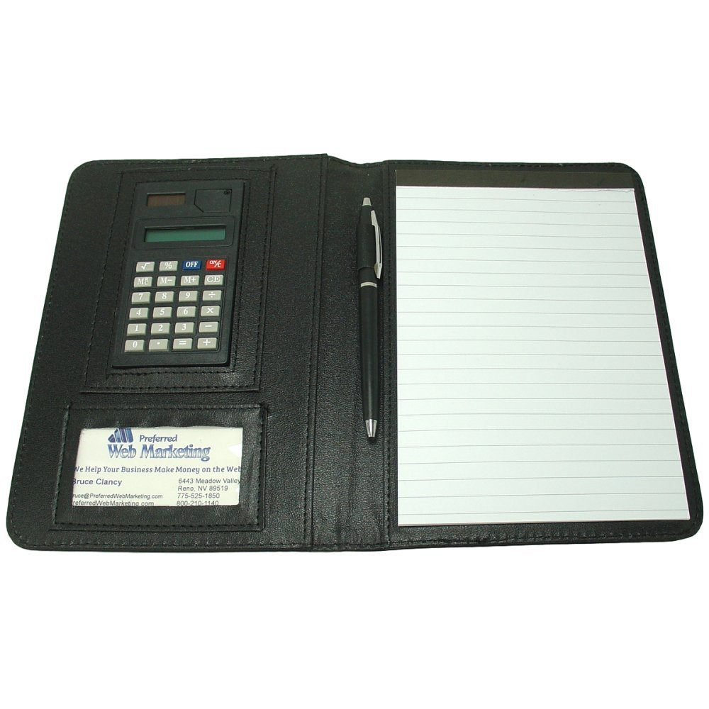 Peak Mini Business Padfolio with Calculator. Compact 5x8 Tablet with soft and flexible black faux leather