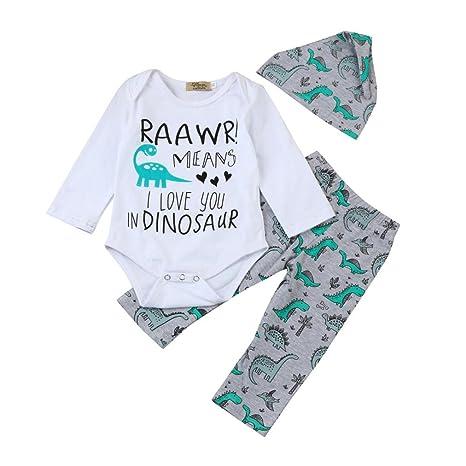 c0e40966c Ropa Sets infantil janly 0 – 18 meses Niño Niña carta Print Pelele Tops +  dinosaurios