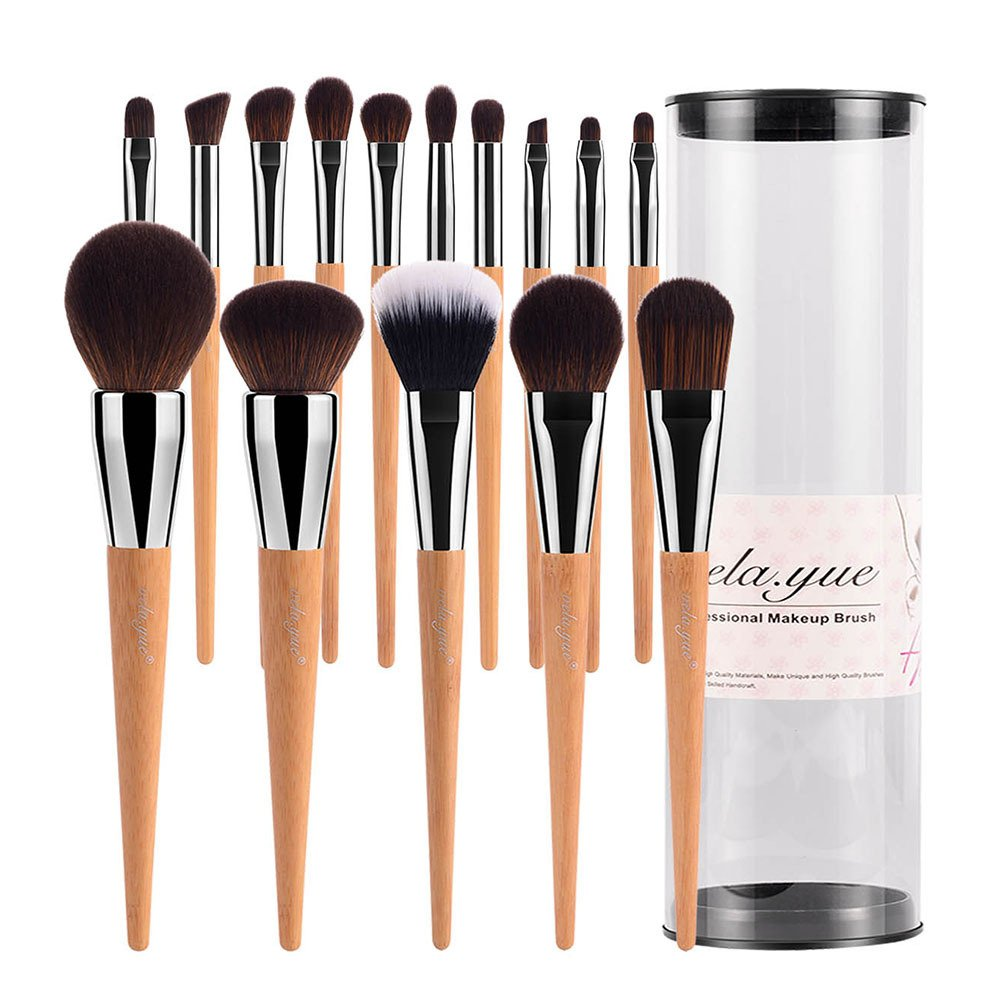vela.yue Pro Makeup Brushes Set 15pcs Travel Face Cheek Eyes Lips Beauty Tools Kit with Case Cruelty-free Super Soft Technique Collections VY