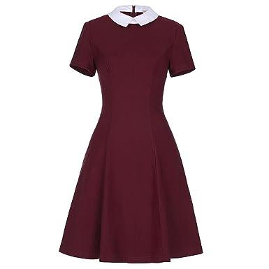 Trendy-Nicer Vestidos Short Sleeve Wine Red Black Vintage Dresses Cocktail Party Gowns FormalBusiness Dress