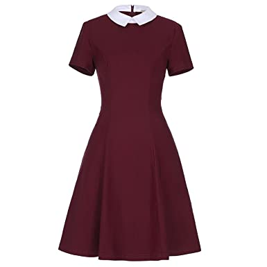e87a7c6ef9 Trendy-Nicer Vestidos Short Sleeve Wine Red Black Vintage Dresses Cocktail  Party Gowns FormalBusiness Dress at Amazon Women s Clothing store