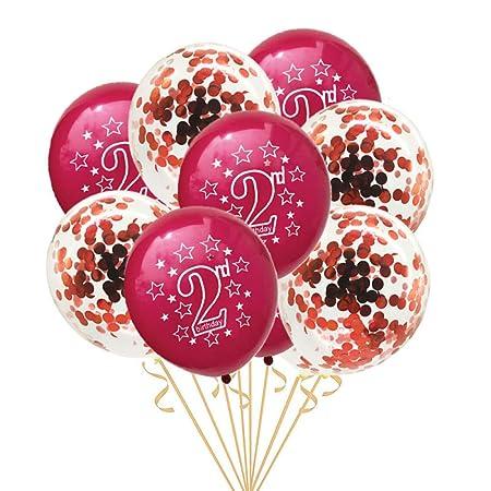 GVJBFC 2 años 10 Piezas Globo de cumpleaños para la 2a ...