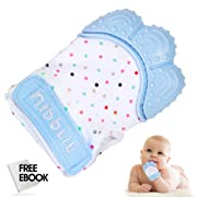 Nibblit Baby Teething Mitten | Self-Soothing Pain Relief Teether Toy Mitt & Glove for Babies, Toddlers, Infants, Boy and Girl | BPA Free | 3-12 Months | Blue