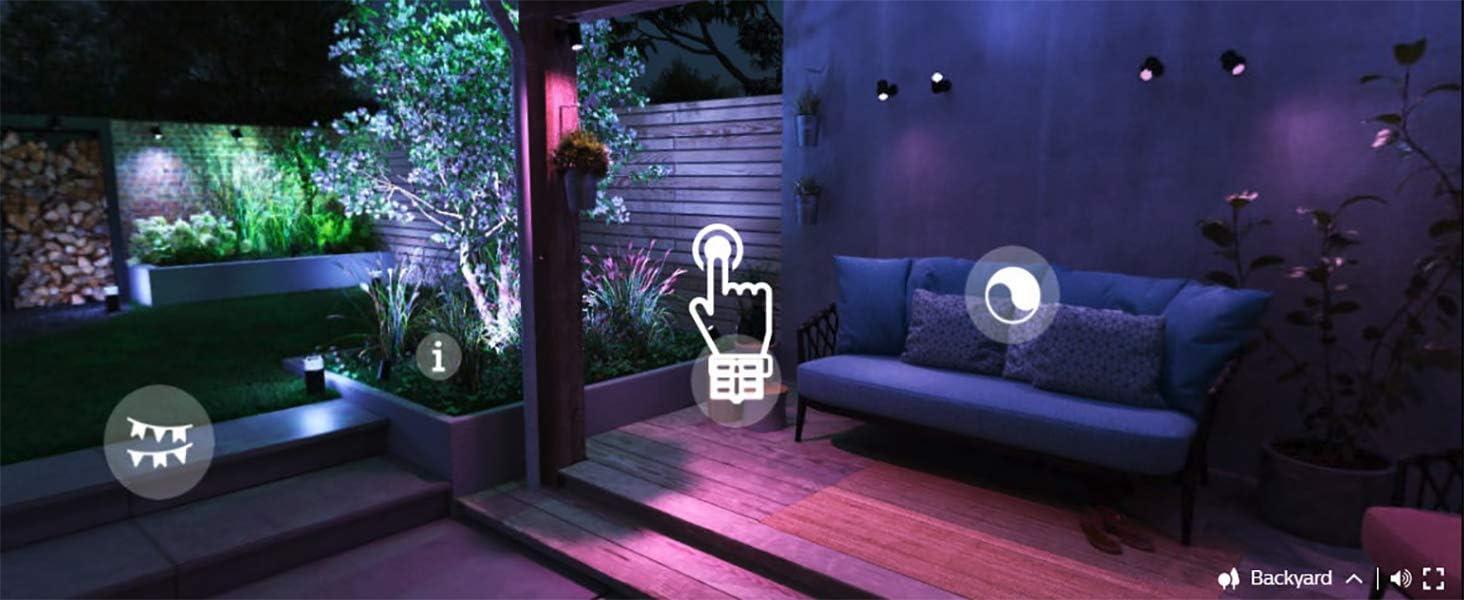 colore: Nero Attract Hue White /& Col Amb 600 lm Lampada da parete