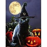 Sonsage Diamond Painting Art,Black Cat, Halloween DIY Full Round Diamond Drill Kit,Gem Art Craft Home Game for Adult and…