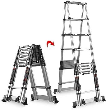 LADDER Escaleras Telescópicas, Escalera Telescópica de Aluminio para Trabajo Pesado, Escalera de Extensión Profesional Plegable para Loft Doméstico de Ingeniería, Capacidad de 330 lb,3.1 m / 10.2ft: Amazon.es: Bricolaje y herramientas