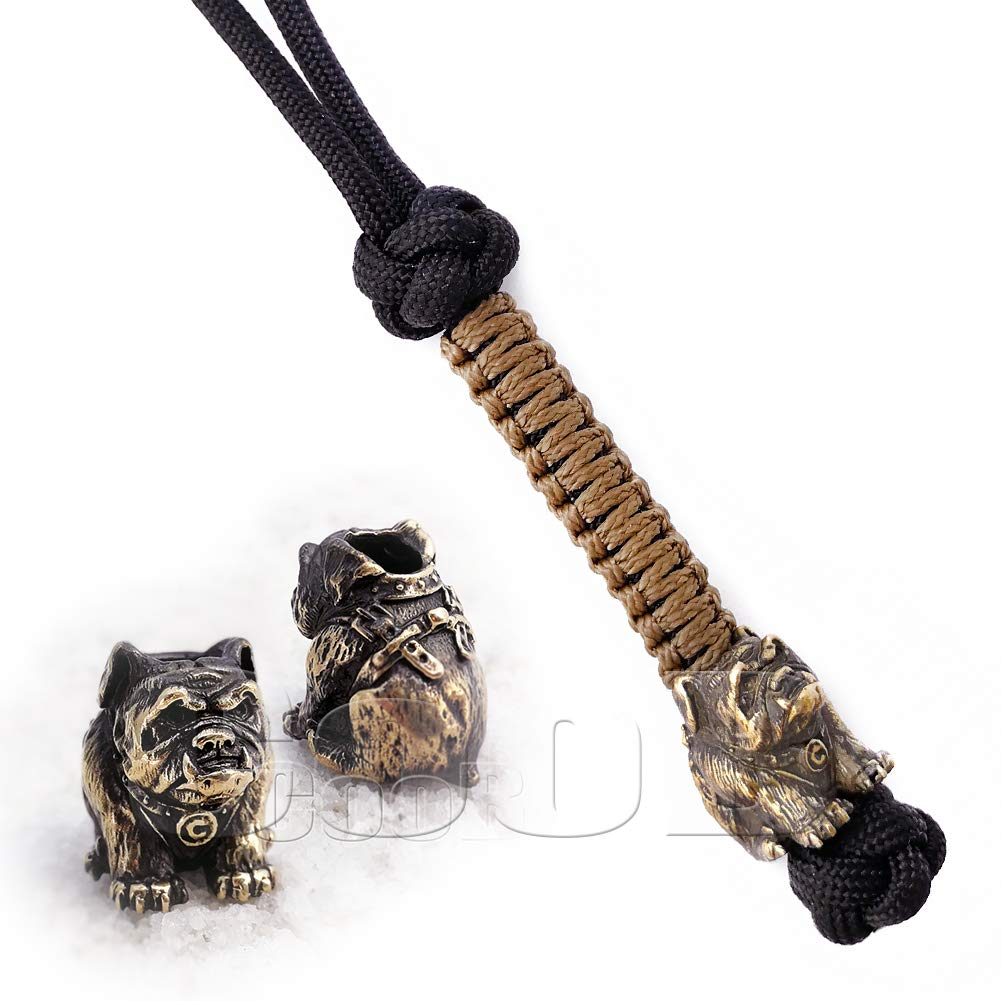 EDC Survival Paracord Lanyard Keychain Strap Key with Hand Casted Bead Beads Charms Animals Collection for Knife, Flashlight, Camera - US Military ...