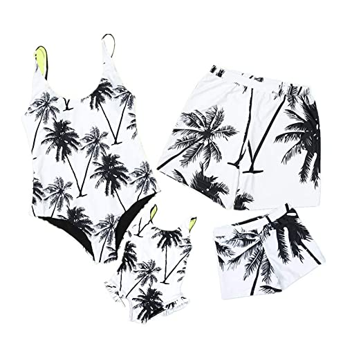 e937796cb608f Amazon.com: Mother Dad Daughter Son Family Matching Swimsuit Palm Tree Print  One Piece Bathing Suit Swimwear Swimshorts Monokini: Clothing