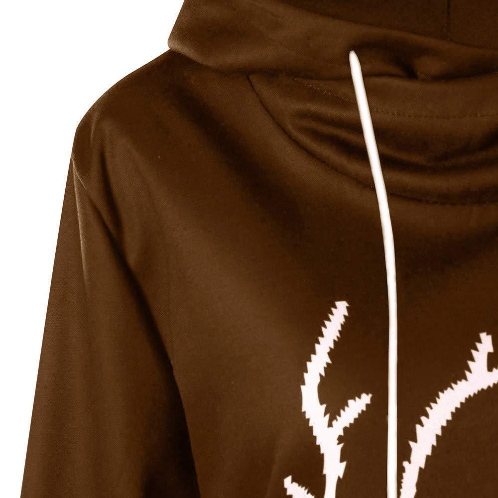 STORTO Womens Christmas Reindeer Printed Hooded Sweatshirt Casual Drawstring Tunic Pullover Tops
