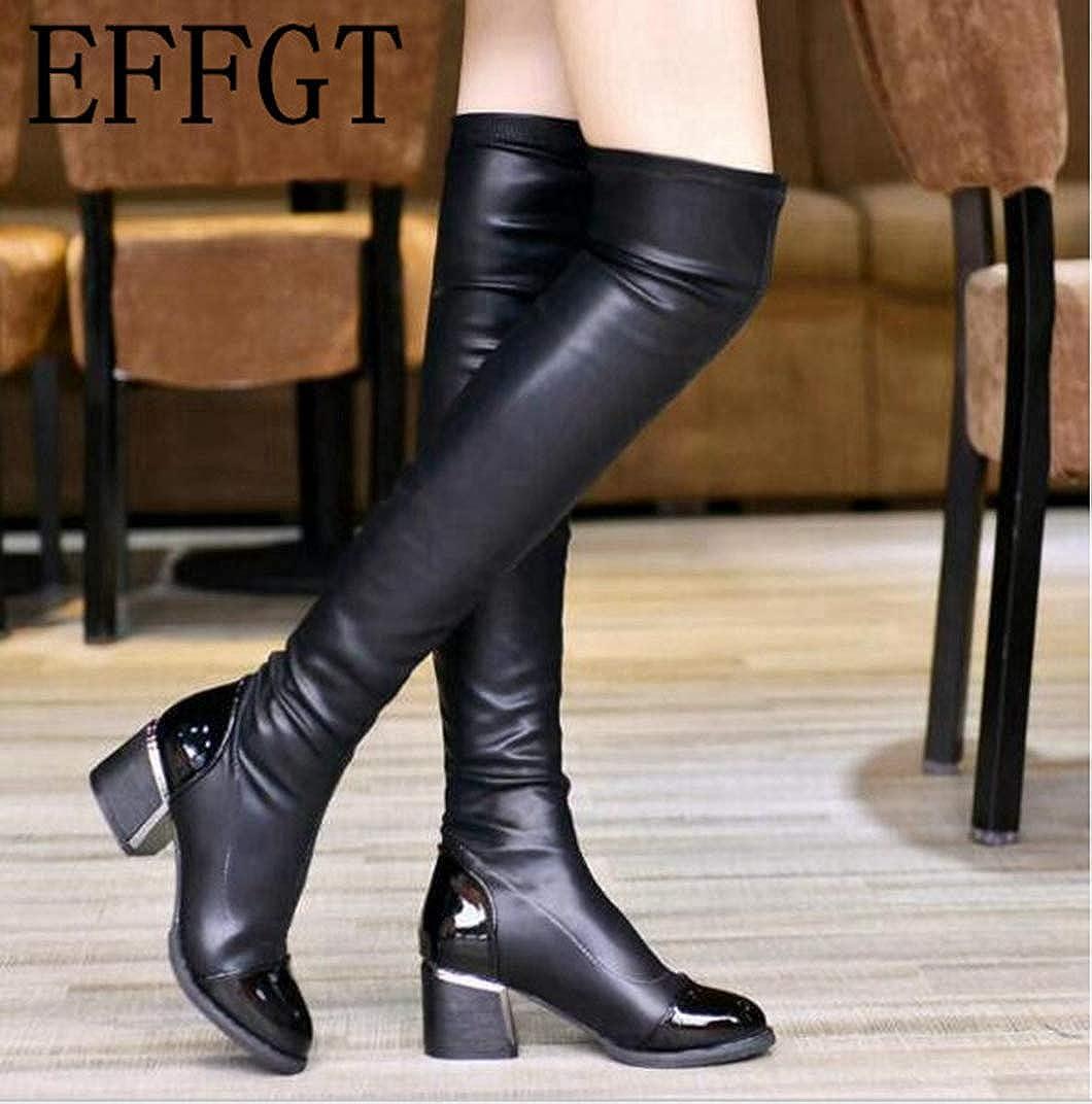 Las Mujeres de Moda de de de Cuero de la PU Sobre Las Botas de la Rodilla Lentejuelas Dedo del pie elástico Estiramiento Grueso Muslo Botas Altas 8f19cf