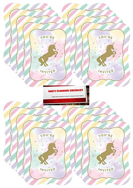 Unicorn Sparkle Deluxe 16 Piece Invitations Set (Plus Party Planning  Checklist by Mikes Super Store)