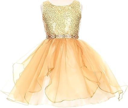e527d645e BluNight Collection Little Girls Sparkling Sequin Organza Short Flower  Girls Dresses (12CC07) Gold 2