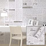 SimpleLife4U Old Fashion Newspaper Contact Paper Adhesive Shelf Liner Locker Sticker 17.7 Inch By 9.8 Feet
