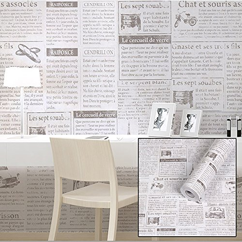 Review SimpleLife4U Old Fashion Newspaper Contact Paper Adhesive Shelf Liner Locker By SimpleLife4U by SimpleLife4U