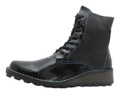 11717e7491f Size 9 Women's Marv Fly London Black Patent Lace Up Leather Ankle Boots:  Amazon.co.uk: Shoes & Bags