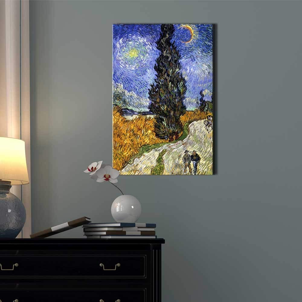 signwin – Canvas Wall Art – Van Gogh Road with Cypress and Star – Poster Giclee Wall Decorations for Living Room High Definition Printed – 32×48 inches