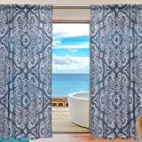 "SAVSV Sheer Long Window Curtain Panels Fashion Morden Dark Blue Graceful Retro Floral Pattern 55"" W x 84"" L Set Of 2 For Living Room Bedroom Kitchen Window"