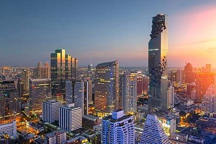 Bangkok Skyline Thailand Print SINGLE CANVAS WALL ART Picture Blue