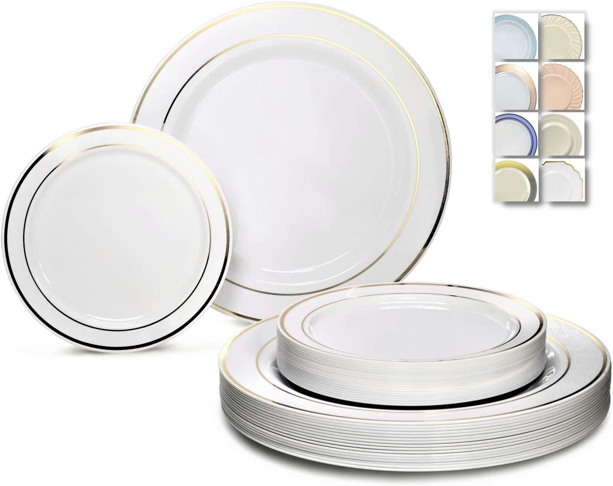 OCCASIONS 240 Plates Pack,(120 Guests) Premium Disposable Plastic Plates Set -120 x 10.5'' Dinner + 120 x 7.5'' Salad/Dessert (White w/Gold Rim)