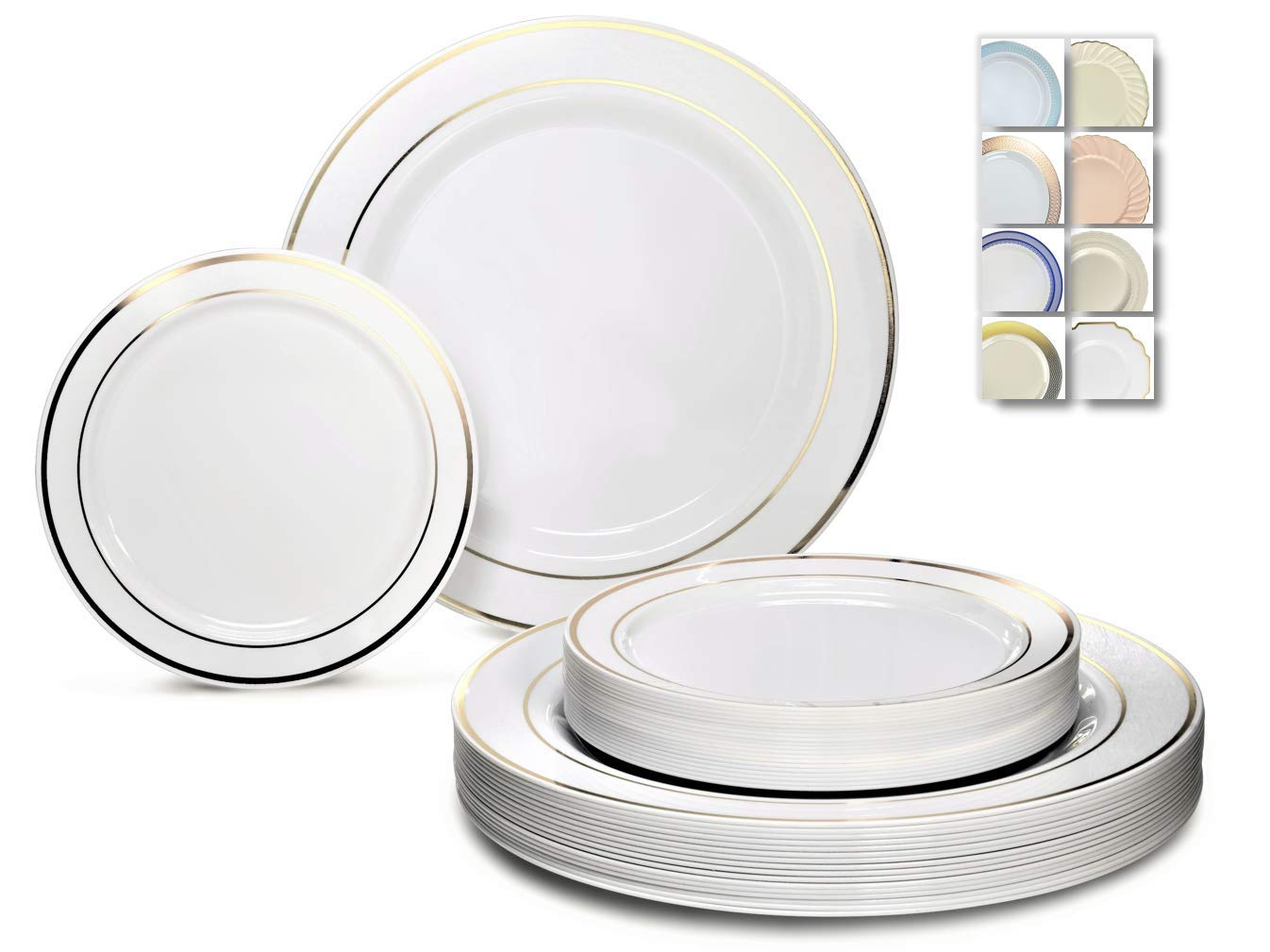 '' OCCASIONS'' 50 Plates Pack (25 Guests) - Heavyweight Wedding Party Disposable Plastic Plate Set - 25 x 10.5'' Dinner + 25 x 7.5'' Salad/dessert plates (White with Gold Rim) by OCCASIONS FINEST PLASTIC TABLEWARE