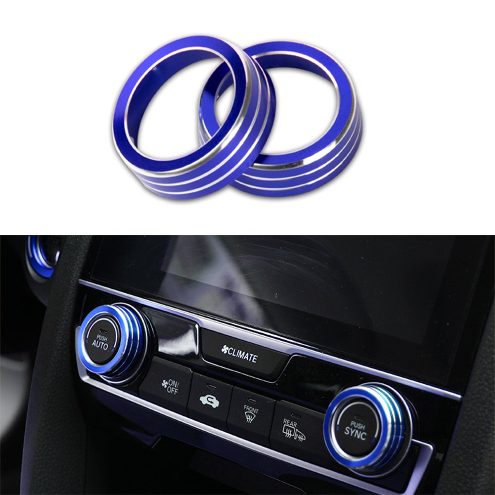 JKCOVER 2Pcs ring knot Covers of Anodized Aluminum Audio /& Air Condition Buttons for Honda 2016-2018 10th Gen Civic-Blue