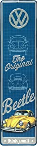 Open Road Brands Volkswagen The Original Beetle, Yellow Vintage Tin Metal Wall Art - an Officially Licensed Product Great Addition to Add What You Love to Your Home/Garage Décor