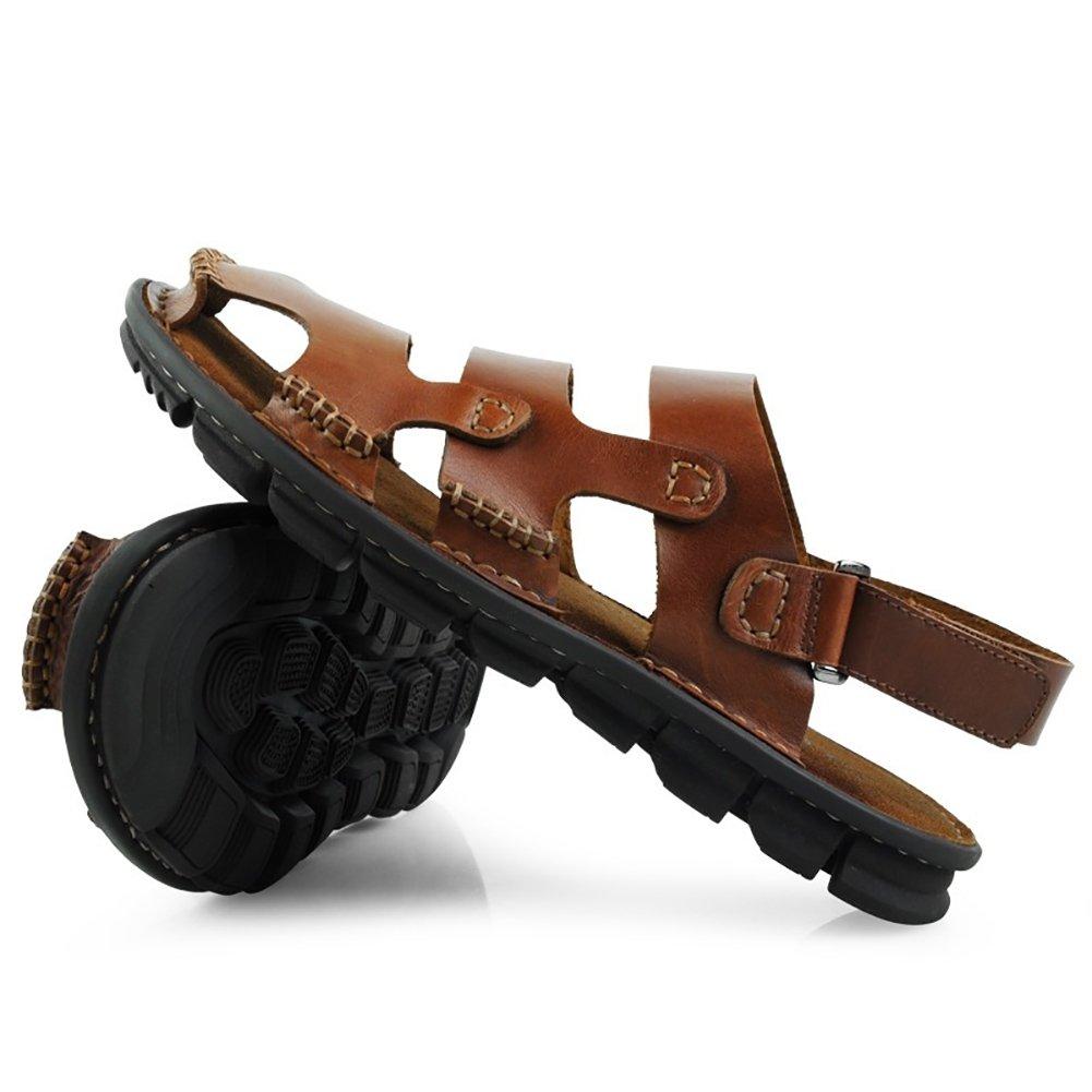 ZJM- Zapatillas de playa Sandalia para hombre con punta cerrada Zapatos de pescador antideslizantes de cuero genuino diseñados para personas mayores (Color : Marrón rojizo, Tamaño : 40) 40|Marrón Rojizo