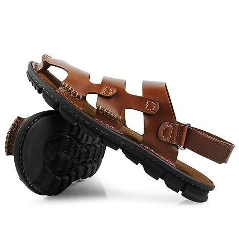 6ae148df77d35 ZJM- Scarpe da spiaggia uomo sandalo scarpe chiuse scarpe in pelle morbida  antisdrucciolevole realizzate per