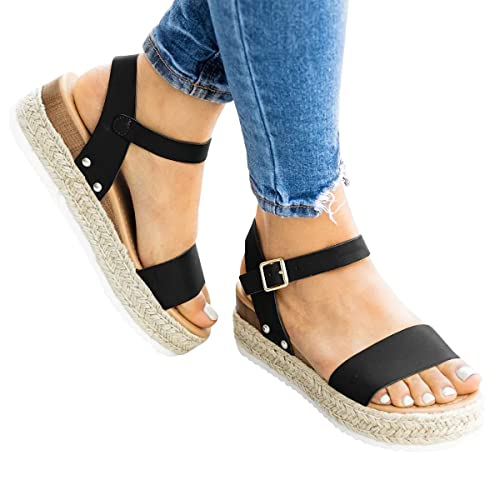 1a3d6f2dfb7 Amazon.com | Ermonn Womens Flatform Sandals Open Toe Espadrille ...