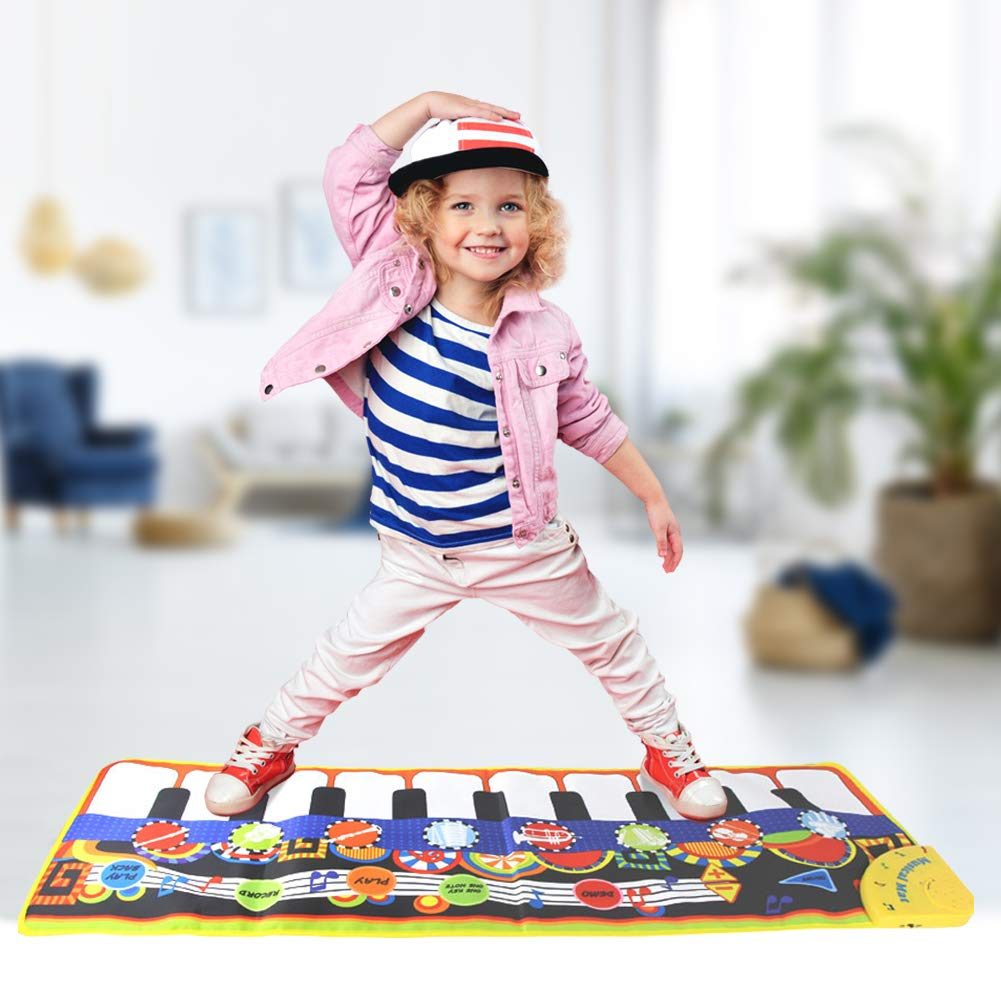 SuperWiner Musical Piano Mat,Kids Early Education Music Blanket,8 Musical Instruments,Demo Songs,19 Keys,Build-in Speaker and Recording Function Electronic Dance Mats(Black and White) by SuperWiner (Image #5)