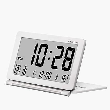Pequeño reloj despertador digital que funciona con pilas para viajar, con fecha, temperatura,