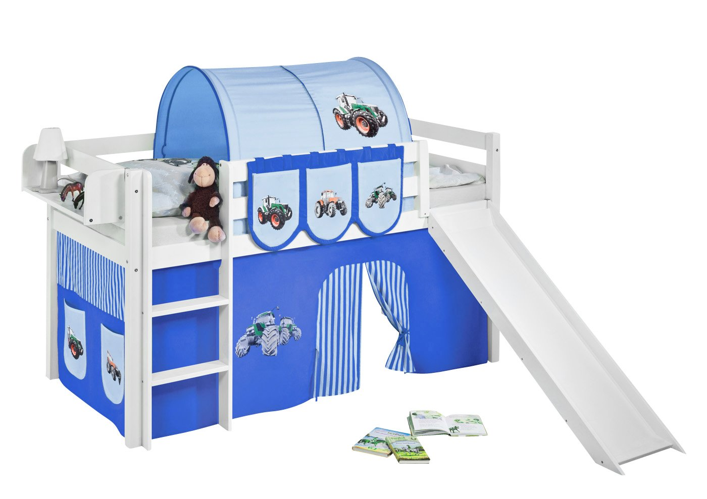 Lilokids Spielbett JELLE mit Rutsche und Vorhang Kinderbett, Holz, weiß, weiß, weiß, 208 x 98 x 113 cm a3770e