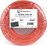 500' Feet Orange 22 Gauge AWG 4 Conductor Solid Copper Alarm Wire Security Cable