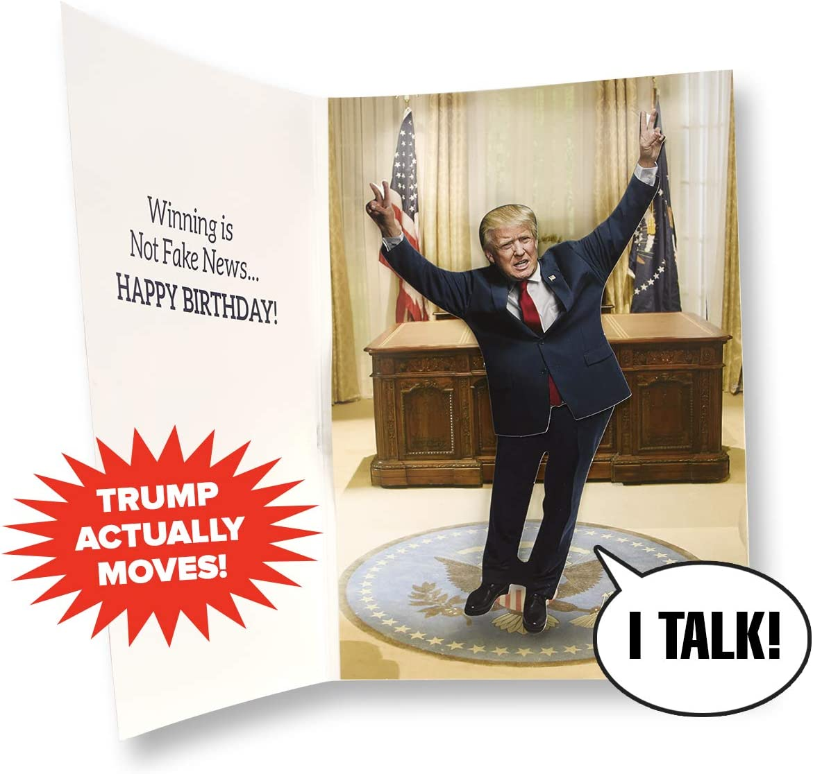 Dancing Donald MOTION & SOUND Birthday Card – Donald Trump Dances in Celebration When Card is Opened – Includes 20 seconds of Trump's voice – Create Big Laughs – Funny Trump Gift - Happy Birthday
