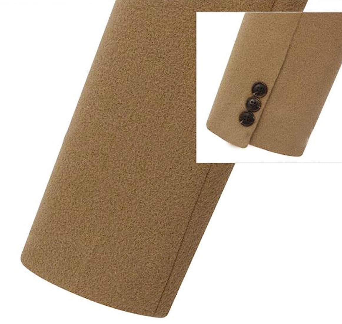 chouyatou Womens Basic Designed Notch Lapel Double Breasted Mid-Long Wool Pea Coat