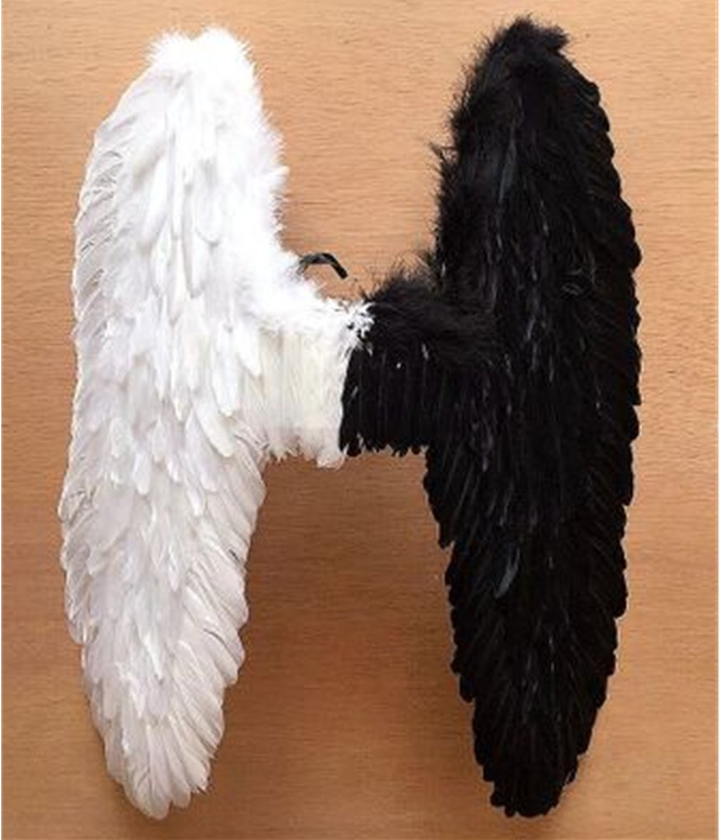 Pre-fashion 31.5''31.5'' Halloween Christmas Costume Dance Party Cosplay Stage Show Decor Butterfly Angels Feathered Wings (Black & White)