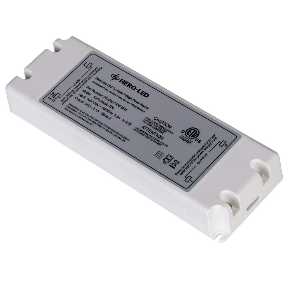 HERO-LED PS-24LPS50-DIM ETL-listed Dimmable LED Constant Voltage Power Supply - Dimmble LED Transformer 24V DC, 2.08A, 50W