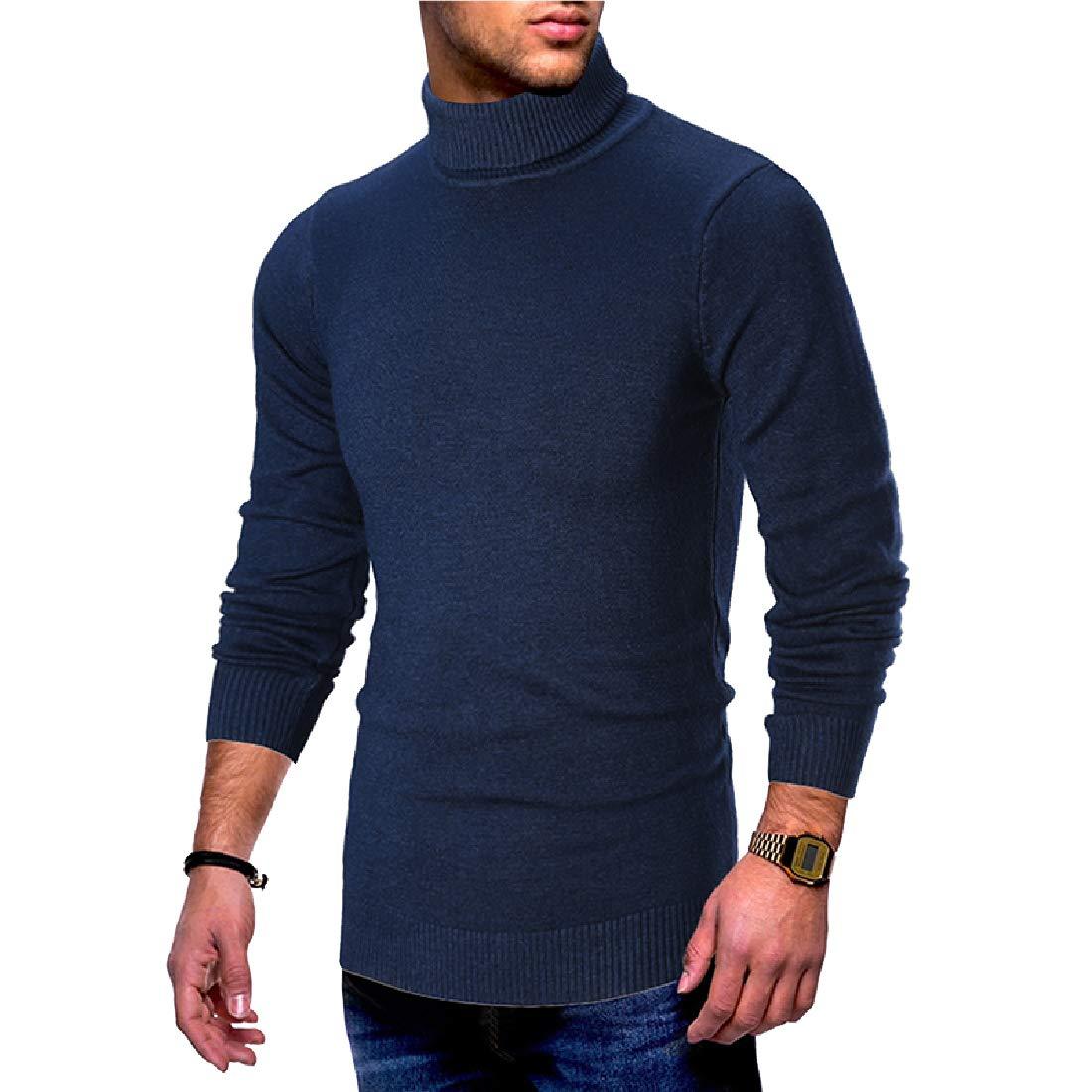 Coolred-Men Slim-Fit Knit Long-Sleeve Basic Turtleneck Pullovers Sweater