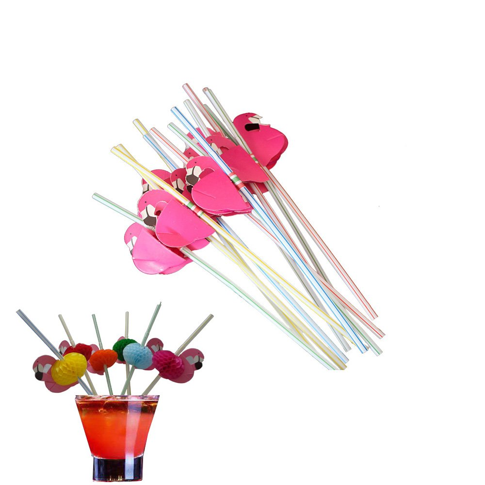 Drinking Straws Umbrella Disposable Bendable Bendy for Luau Parties Bars Restaurants Assorted Bright Color (Set C 50pcs)