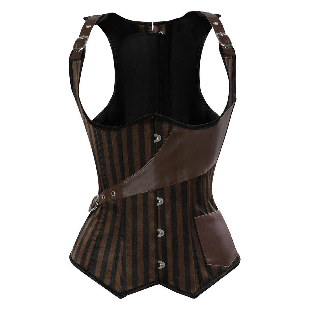 Steampunk Tops | Blouses, Shirts frawirshau Womens Gothic Steampunk Corset Bustier Waist Cincher Underbust Corset Vest Tank Top $56.99 AT vintagedancer.com